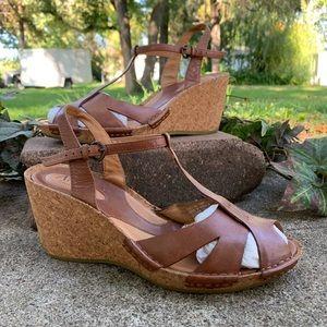 Clark's Artisan T Strap Wedge Sandals
